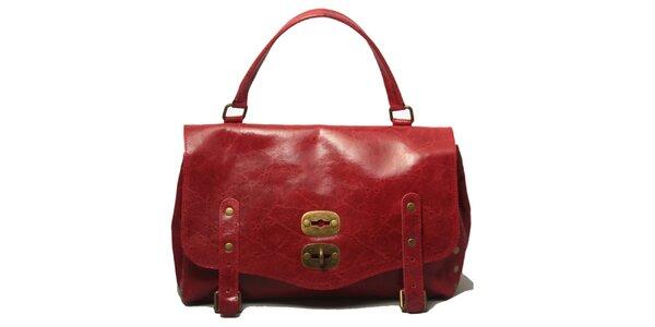 Dámská červená kabelka se zámkem Leonardo Farnesi