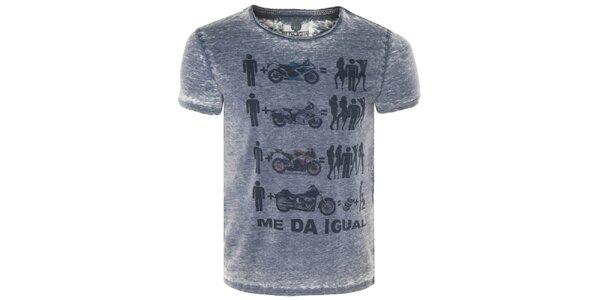 Pánské modré tričko s motorkami Me Da Igual