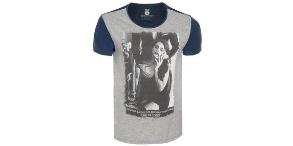 Pánské šedo-modré tričko s lechtivým potiskem Me Da Igual
