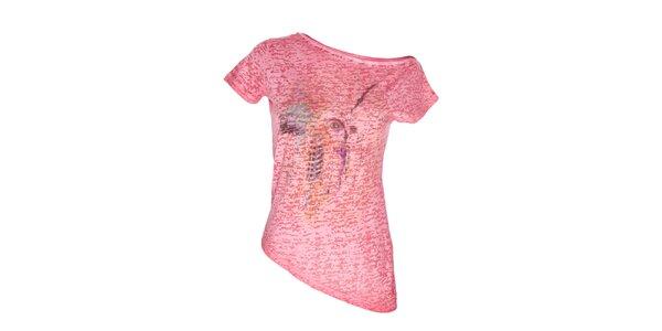 Dámský červený top s asymetrickým spodním lemem Me Da Igual