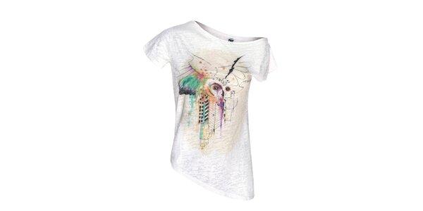 Dámský bílý top s asymetrickým spodním lemem Me Da Igual
