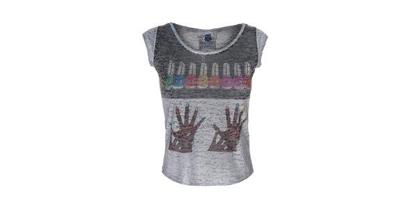 Dámské šedé tričko s barevným obrázkem Me Da Igual