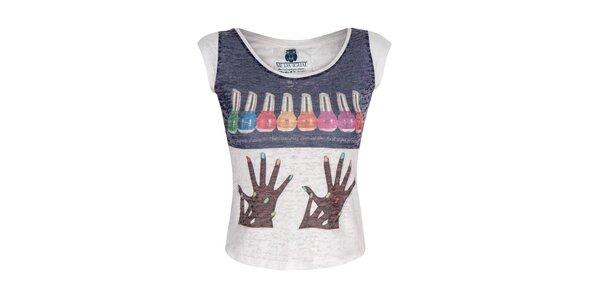 Dámské bílé tričko s barevným obrázkem Me Da Igual