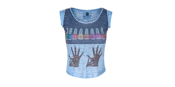 Dámské modré tričko s barevným obrázkem Me Da Igual