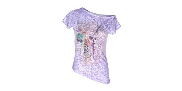 Dámský fialový top s asymetrickým spodním lemem Me Da Igual