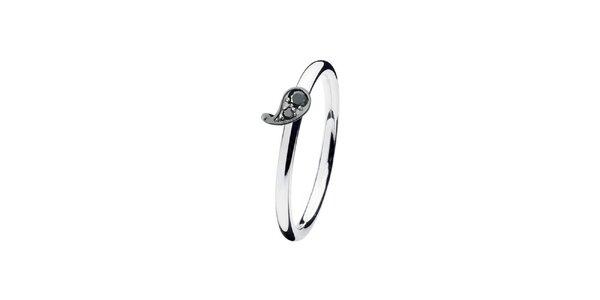 Dámský prstýnek s černou kapkou Spinning