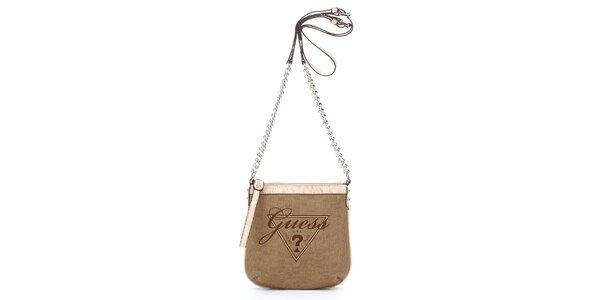 Dámská hnědo-béžová mini kabelka Guess s řetízkem