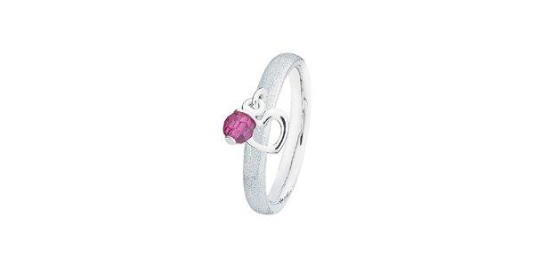 Dámský třpytivý prstýnek s fialovým kamínkem Spinning