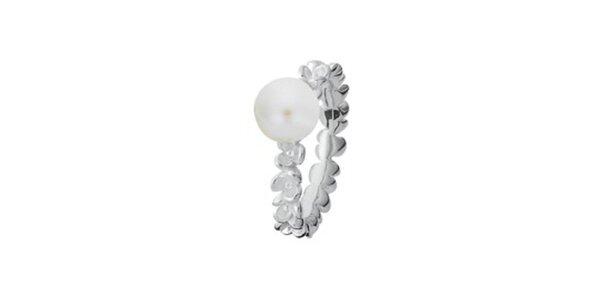 Dámský prstýnek s kytičkami a perlou Spinning