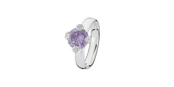 Dámský prstýnek s fialkovým kamínkem Spinning