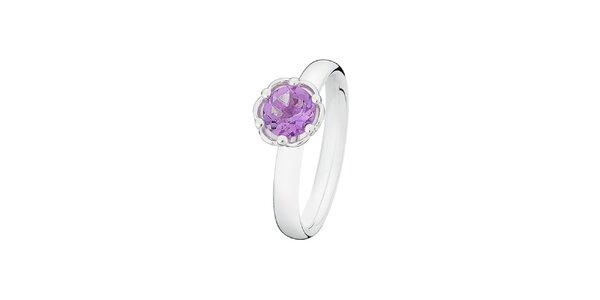 Dámský prstýnek s fialkovým kamínkem ve tvaru kytičky Spinning