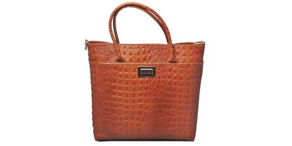 Dámská koňakově hnědá kabelka s motivem krokodýlí kůže Leonardo Farnesi