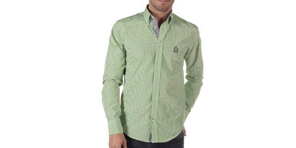 Pánská zeleně kostkovaná košile s dlouhým rukávem CLK