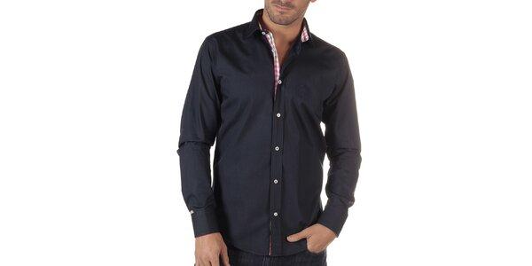 Pánská tmavě modrá košile s kostkovanou légou CLK