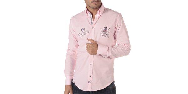 Pánská růžová košile s ozdobnými prvky na hrudi CLK