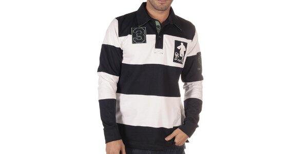 Pánské černo-bíle pruhované polo triko s dlouhým rukávem CLK