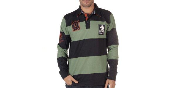 Pánské černo-zelené pruhované polo triko s dlouhým rukávem CLK