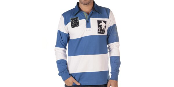 Pánské modro-bíle pruhované polo triko s dlouhým rukávem CLK