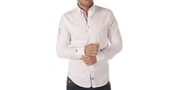 Pánská bílá košile s výšivkou CLK