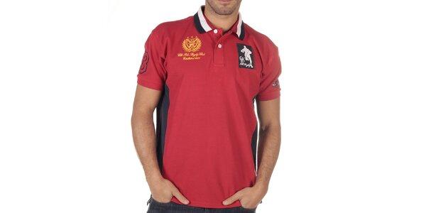 Pánské červené polo triko s pruhovaným límečkem CLK