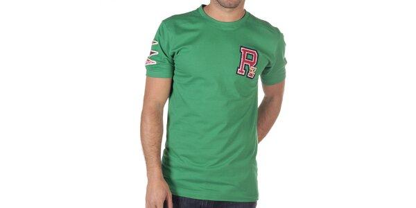 Pánské zelené tričko s písmenem na hrudi CLK
