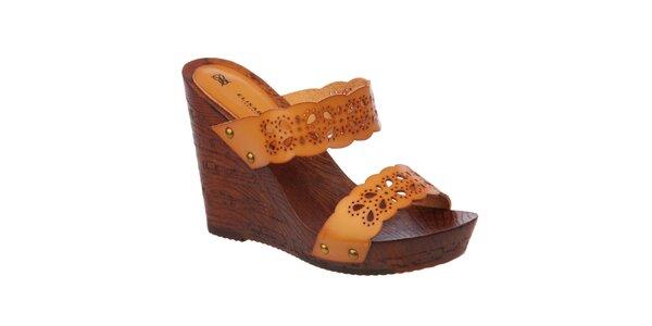Dámské oranžovohnědé sandálky na klínku Elisabeth