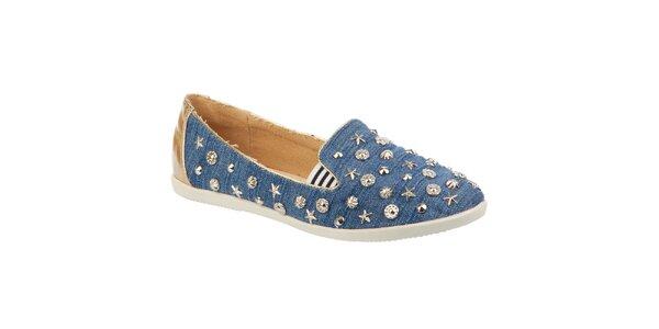 Dámské džínové botičky s kovovými ozdobami Betsy