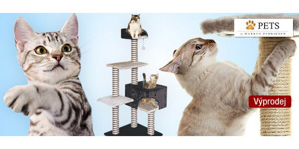 Výprodej! Škrabadla pro kočky s kukaněmi a odpočívadly
