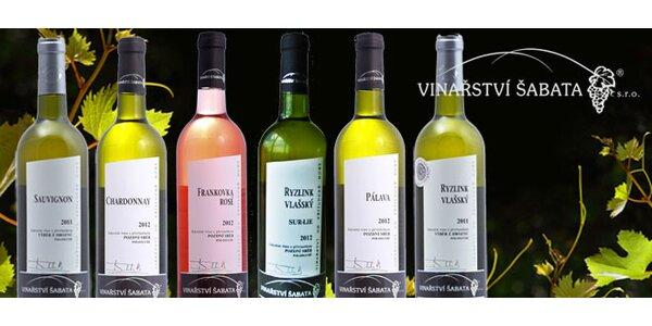 Šest polosuchých vín z rodinného vinařství Šabata