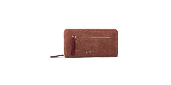 Dámská červenohnědá peněženka se zipovou kapsičkou Kate Lee