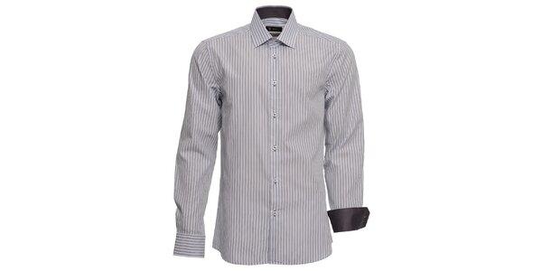 Pánská šedě proužkovaná košile Brazzi