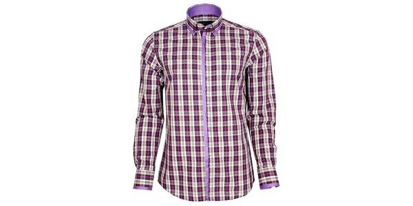 Pánská fialově kostkovaná košile Brazzi