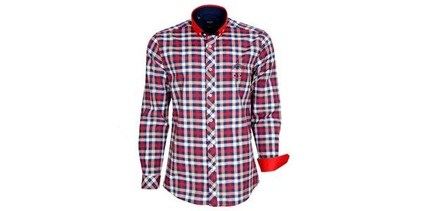 Pánská červeno-modro-bíle kostkovaná košile Brazzi