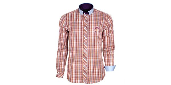 Pánská oranžově kostkovaná košile s modrým límečkem Brazzi