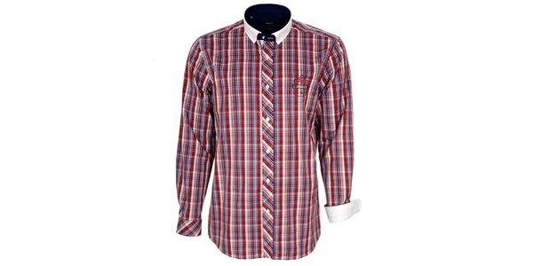 Pánská červeně kostkovaná košile s bílým límečkem Brazzi