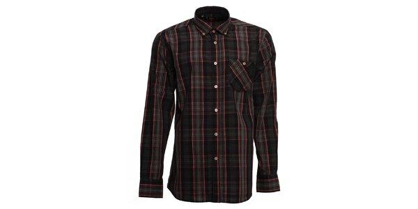 Pánská tmavá kostkovaná košile s červenými proužky Brazzi