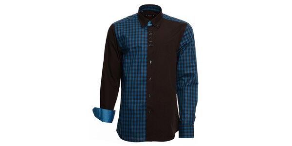 Pánská černo-modrá košile s kostkou Brazzi