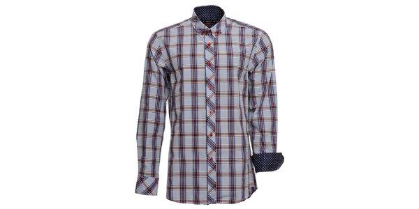 Pánská modře kostkovaná košile s puntíkovanými manžetami Brazzi