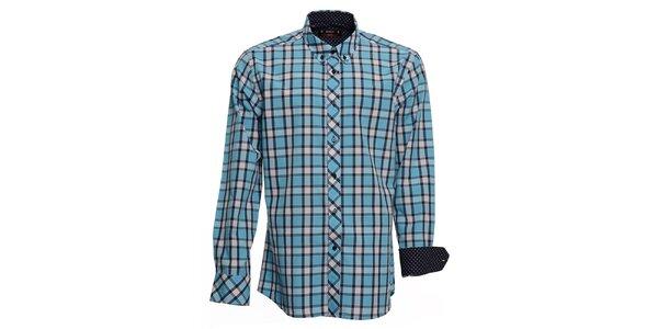 Pánská tyrkysově kostkovaná košile s puntíkovanými manžetami Brazzi