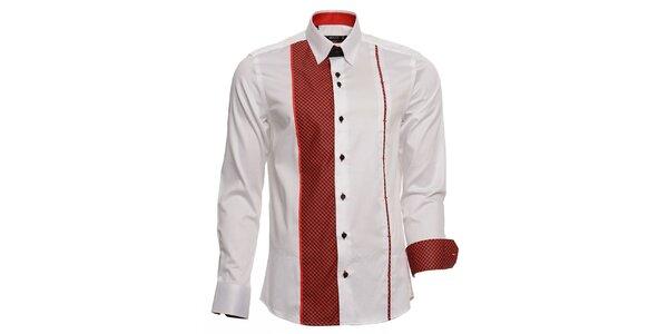 Pánská bílá košile s červenými detaily Brazzi