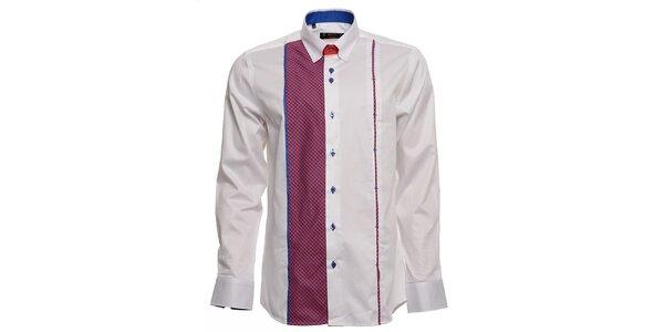 Pánská bílá košile s fuchsiovo-modrými detaily Brazzi