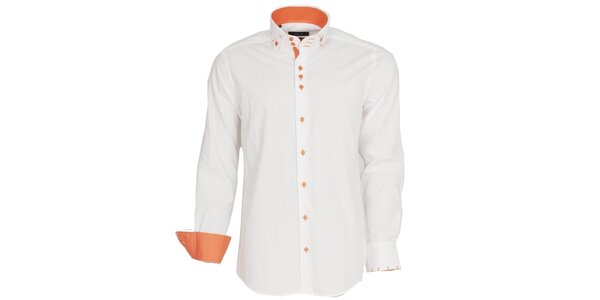 Pánská bílá košile s oranžovými manžetami Brazzi