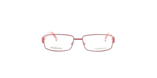 Červené brýlové obroučky s bílými detaily Emporio Armani