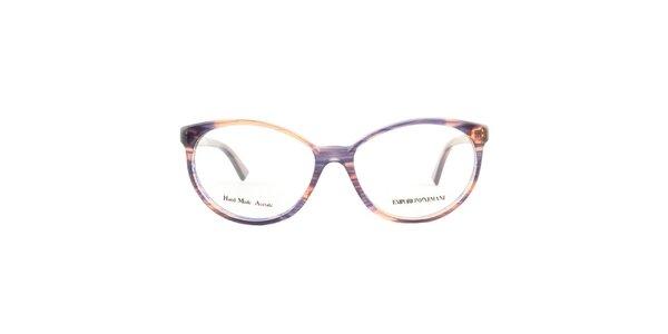 Dámské oválné barevně žíhané brýlové obruby Emporio Armani