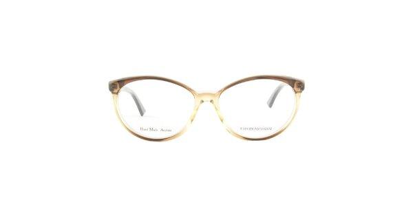 Dámské oválné hnědé transparentní brýlové obruby Emporio Armani