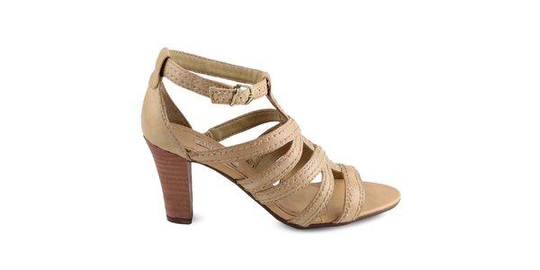 Dámské béžové boty s hnědým podpatkem Arezzo