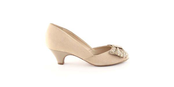 Dámské béžové boty s mašlí Arezzo