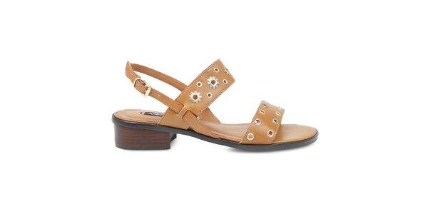 Dámské hnědé sandály s ozdobnými pásky Arezzo