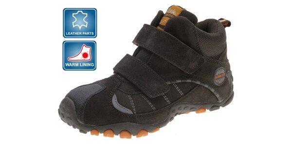 Tmavě hnědé dětské zimní zateplené boty Beppi