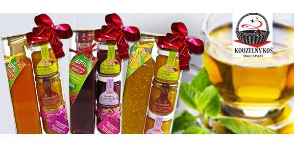 Ovocné džemy, sirupy, pralinky i medy v dárkovém balení